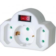 Stopcontact Splitter , Aan / Uit-Schakelaar,  1 x Schuko / 2 x Euro