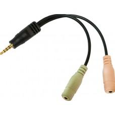 Audio Adapter 3.5 mm 4pins (m)  2x 3.5 mm (f)LogiLink