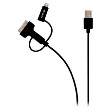 USB(m) Sync & charge - Micro B(m) / lightning / 30-pin kabel voor Apple 1m